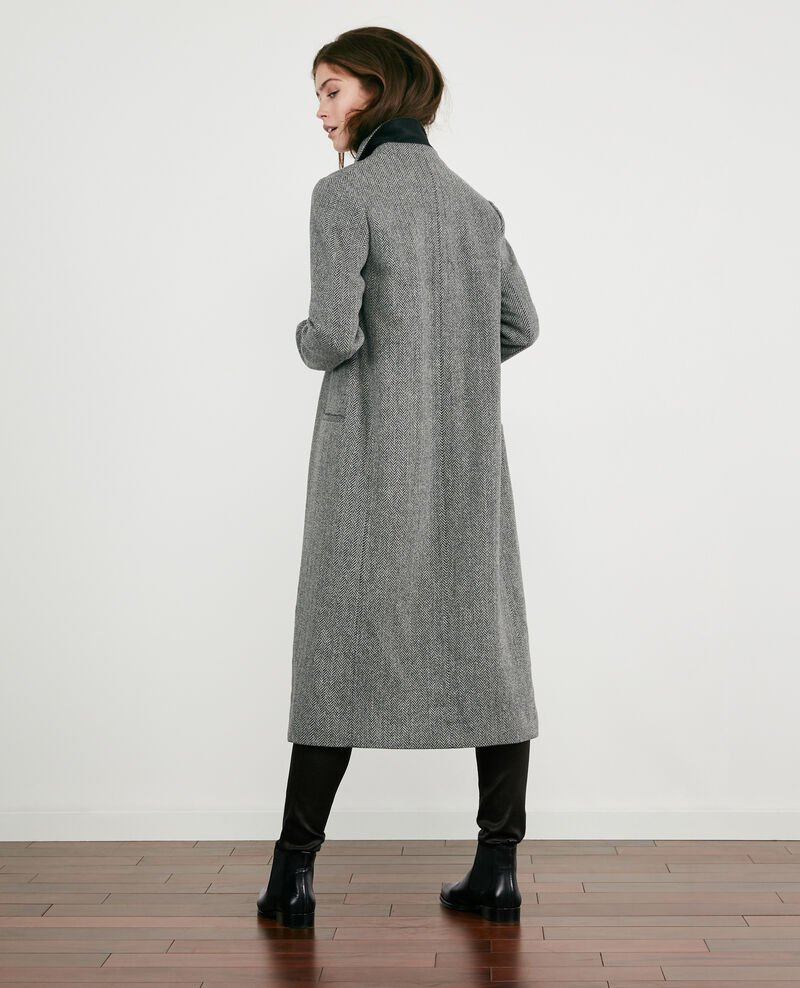 Wool blend tweed coat Medium heather grey Dalacet