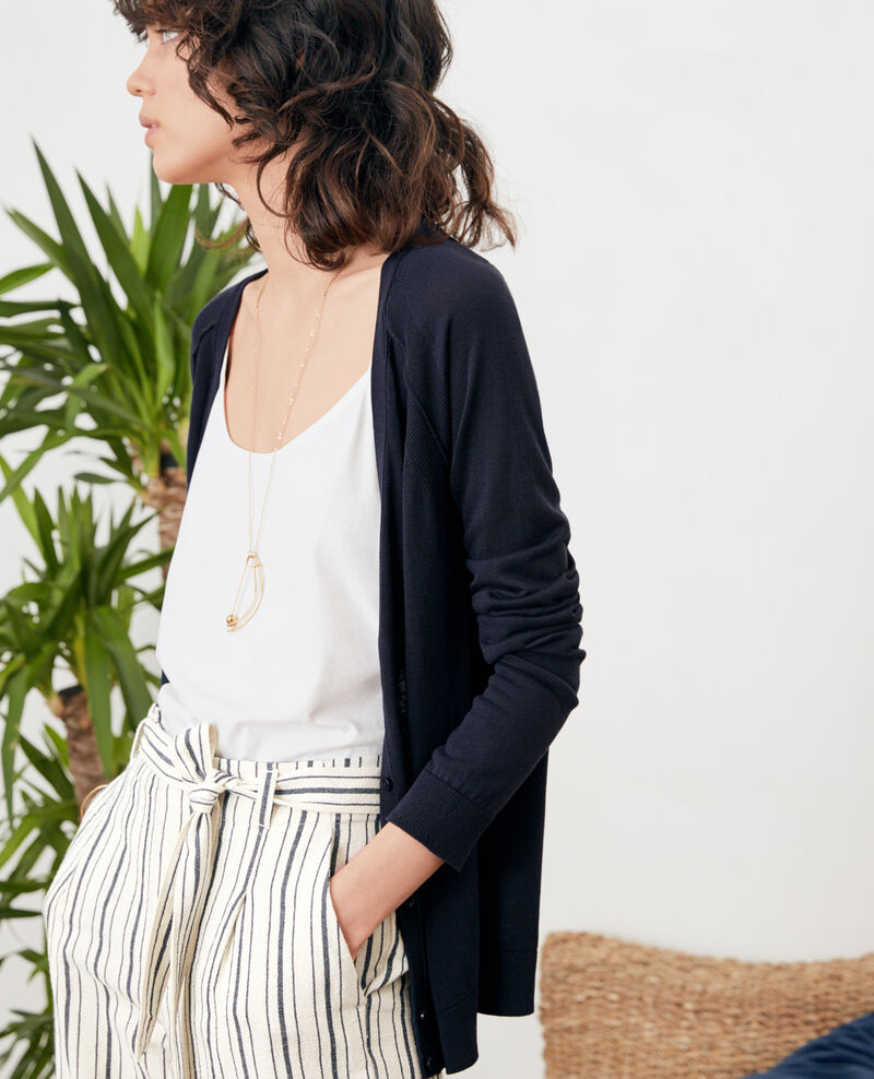 Cardigan with silk Navy Fresia