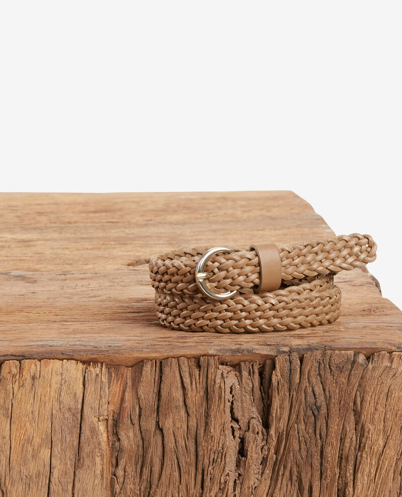 Braided leather belt LIGHT COGNAC
