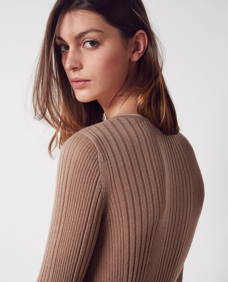 Fine-knit ribbed cashmere cardigan Noyer/off white Colette