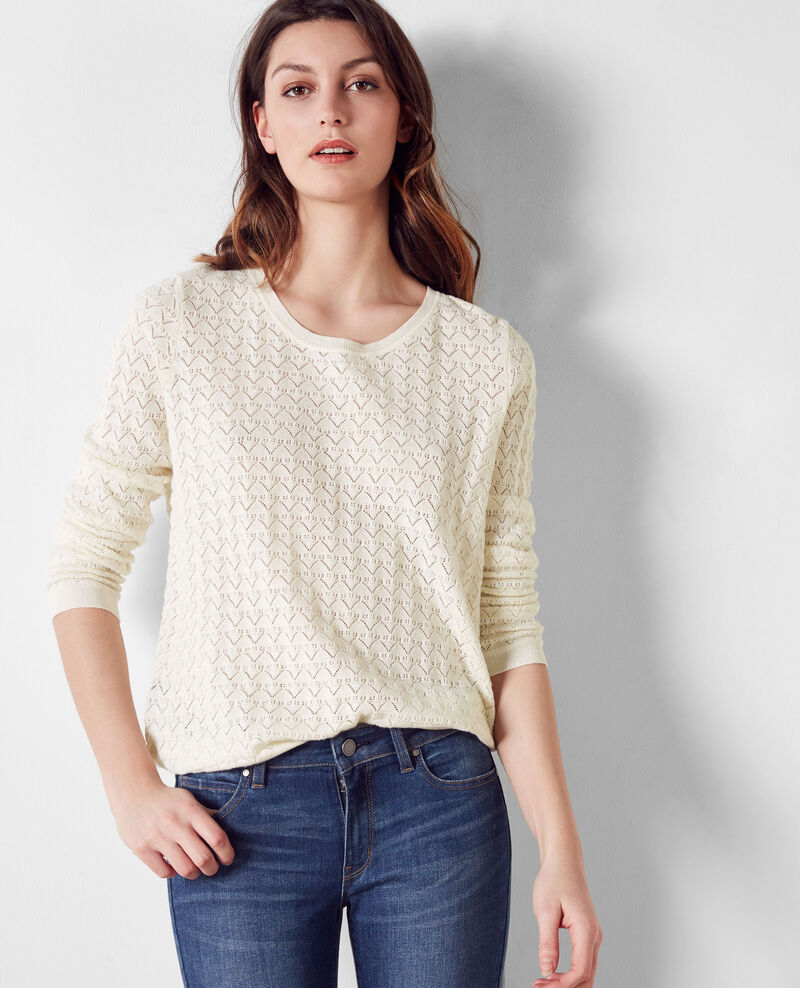 Openwork jumper with cashmere and trompe l'œil back Off white Cumin