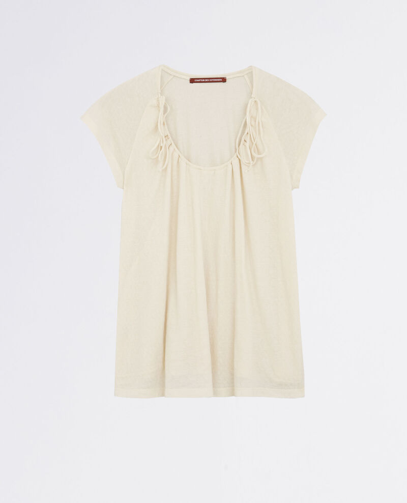 T-shirt with drawstring detail Off white Caracas