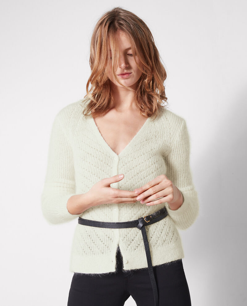 Cardigan with mohair and wool Off white Celestine