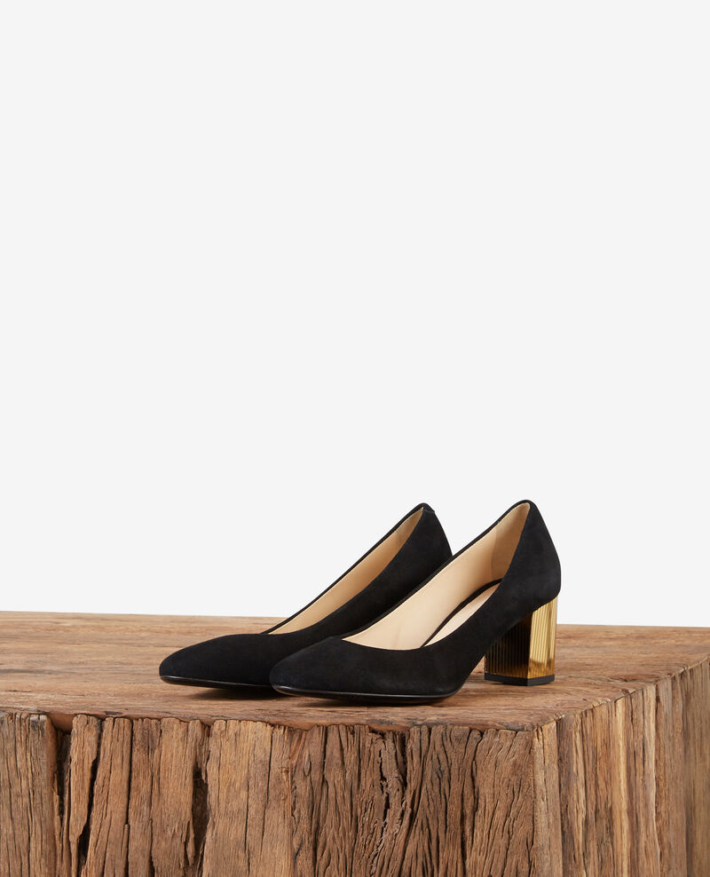 Suede high heels with metallic heels Noir/gold Dedisco