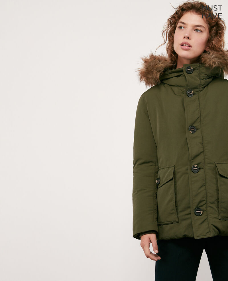 Down jacket with removable faux fur trim Kaki Dasual