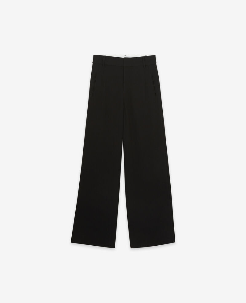Wide leg heavy crepe trousers  Noir Damorino