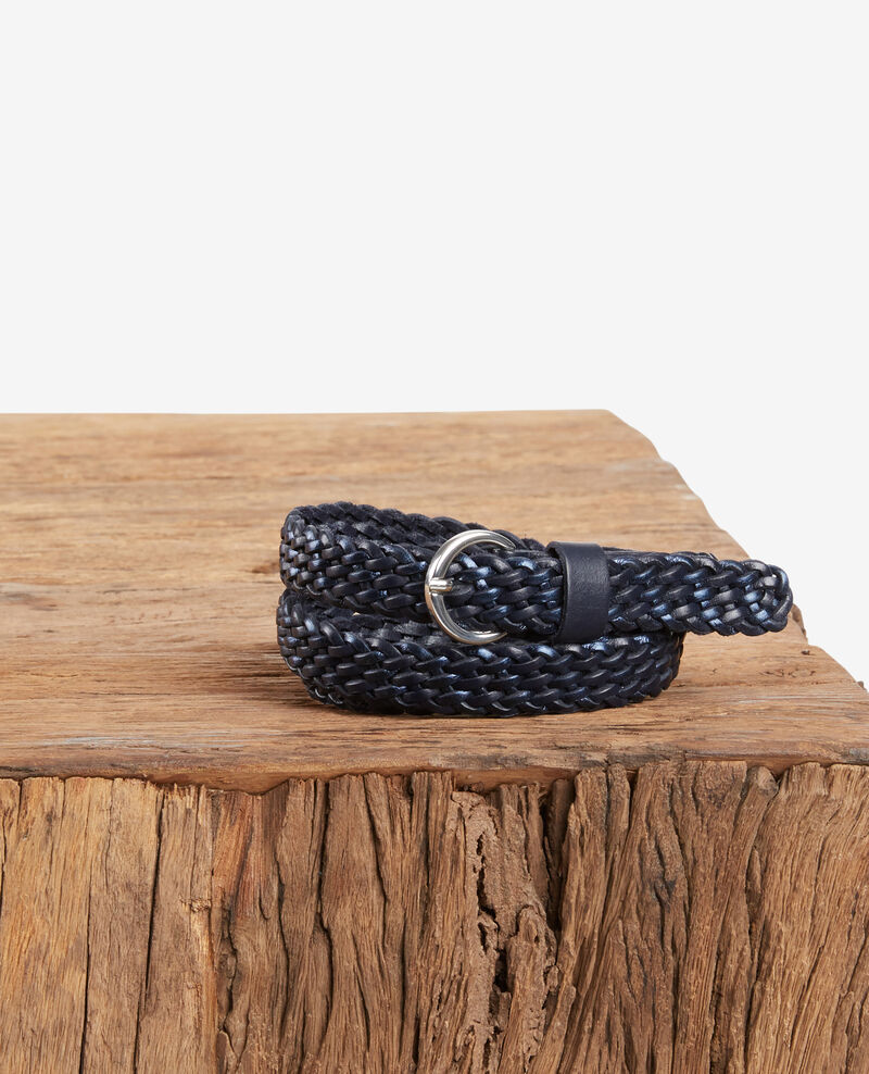 Braided leather belt NAVY