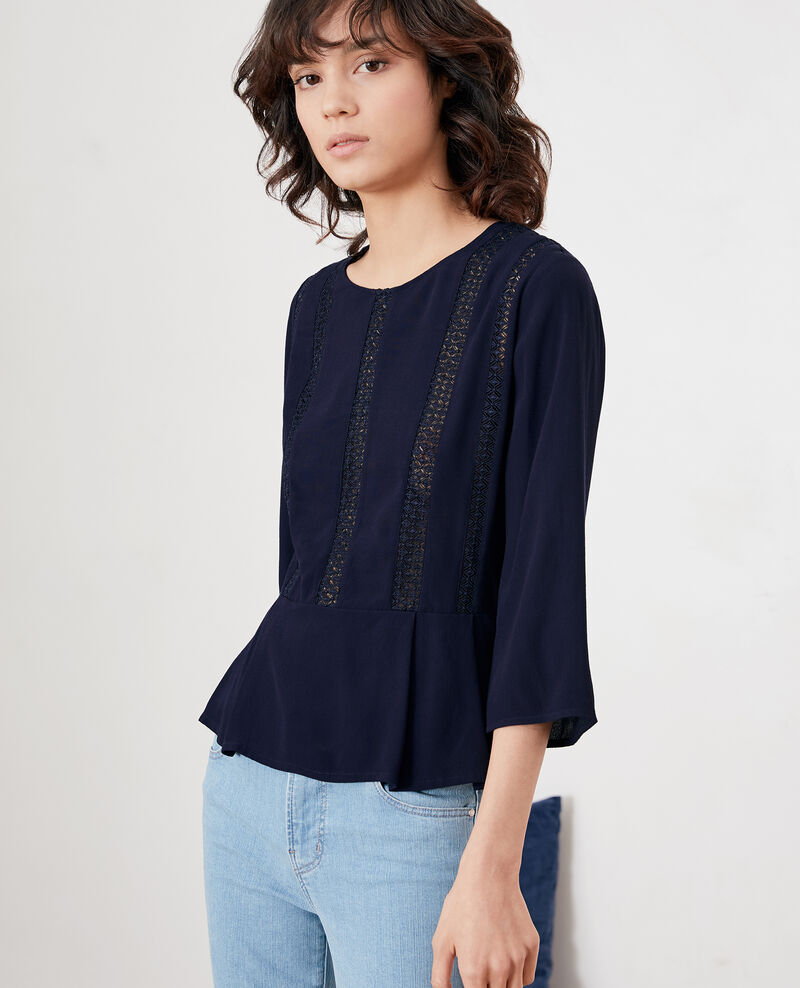 Peplum blouse with lace MARINE