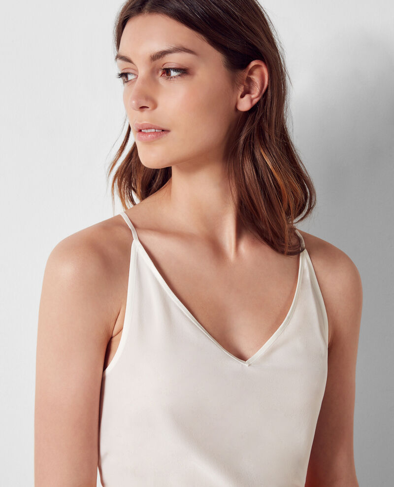 Dual-fabric cotton and silk tank top Off white Croisure