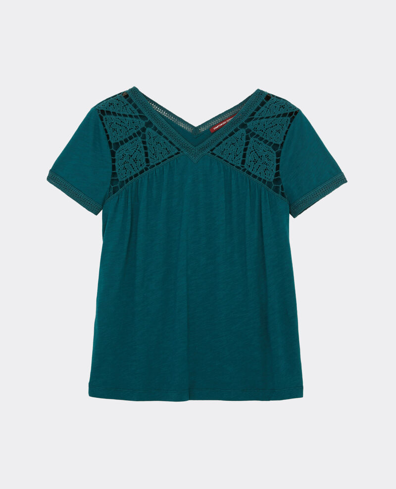 T-shirt with embroidery details Jungle green Colline