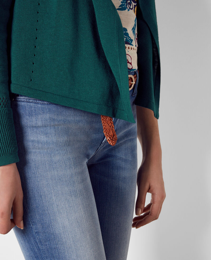 Short linen open cardigan Jungle green Colchic