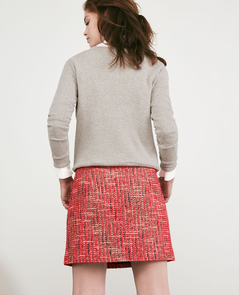 Tweed Skirt Orange red Doulon
