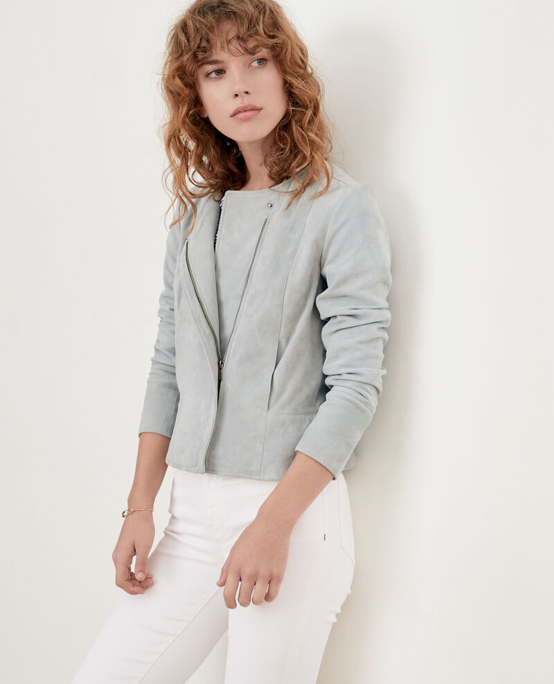 Short suede jacket SILVERGREEN