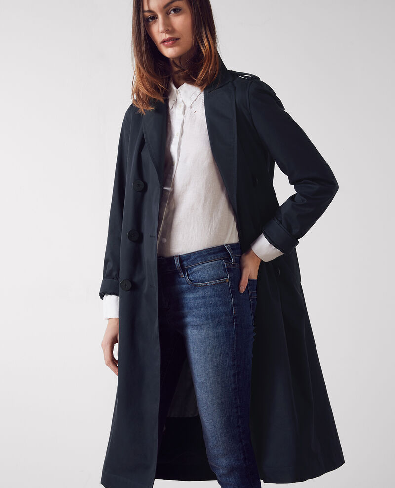 Long classic trench coat with removable lining Dark navy Cable