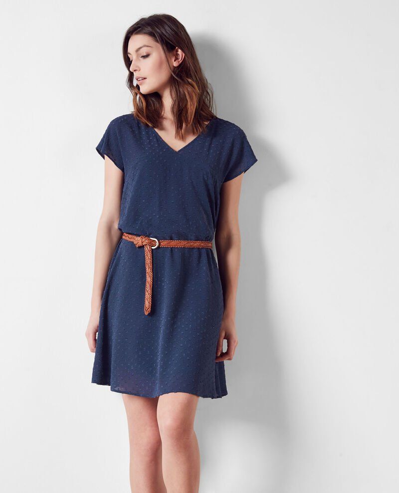 Loose-fitting dress in dotted Swiss voile Ink blue Ciflocka