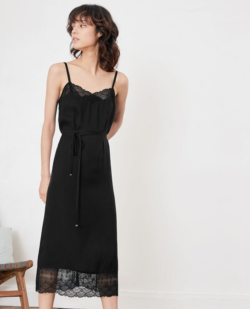 Nightie-style dress with lace Noir Fran