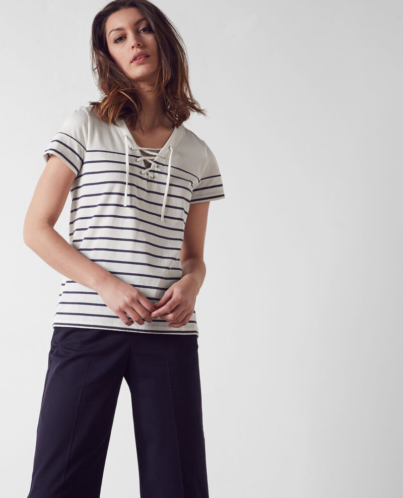 Breton-style shirt with front lacing White/midnight Caradoc