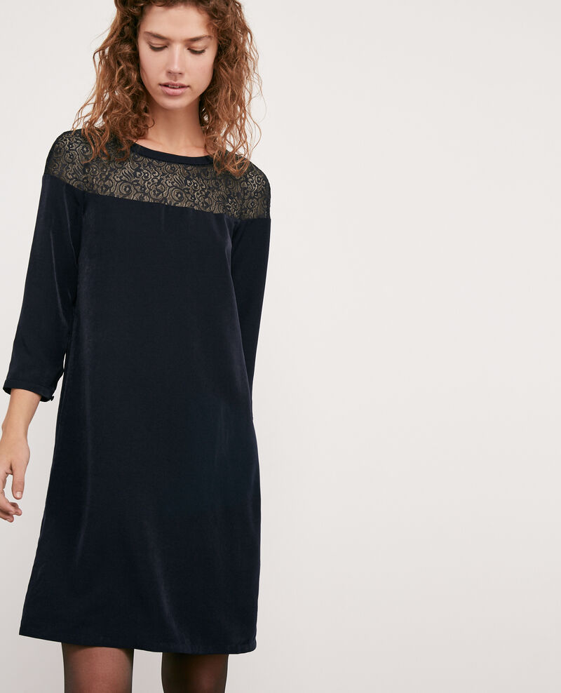 Satin and lace dress NAVY