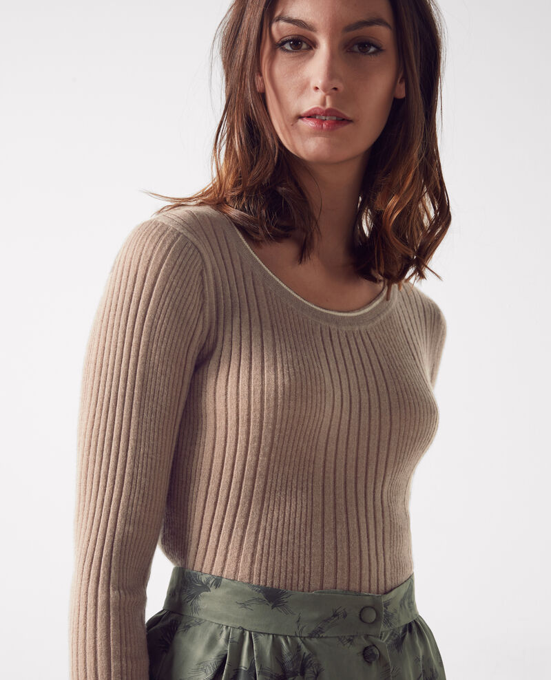 Fine-knit ribbed cashmere jumper Noyer/off white Clemence