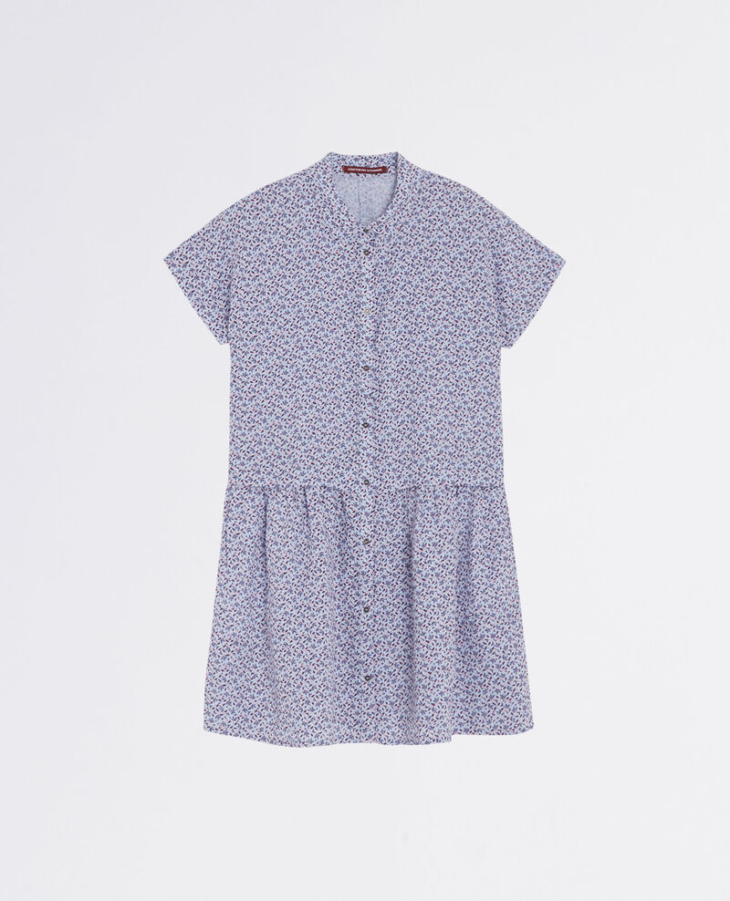 Llinen print shirt dress Linen meadow crimson Cutiepie
