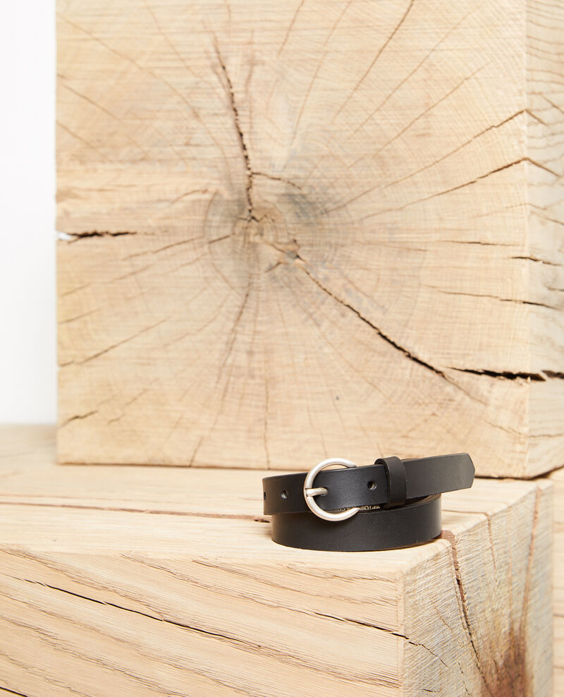 Smooth leather belt, small model Noir Girard