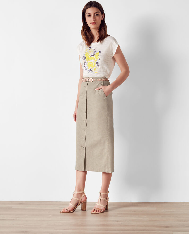 Linen button-front skirt Lin Catacombes