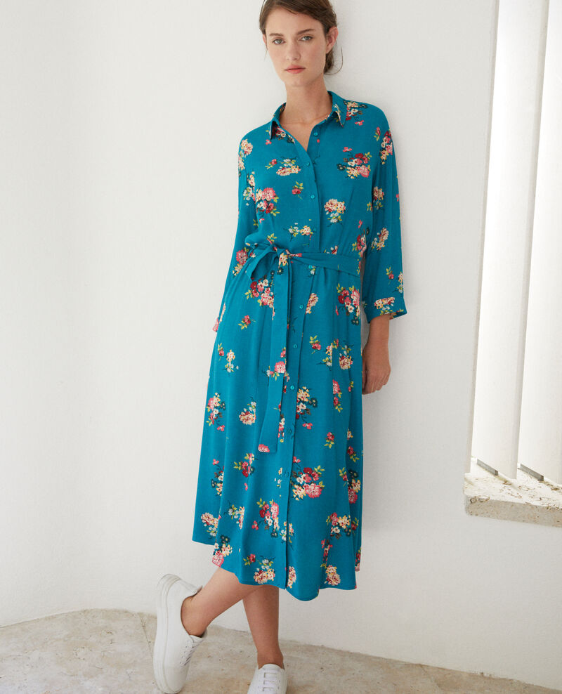 Mid-length dress FLEURS PACIFIC GREEN