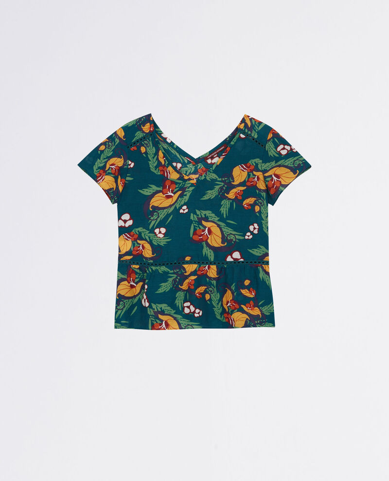 Linen and silk print blouse Tropical jungle green Cibiscus