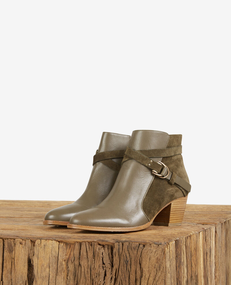 Leather panelled boots Kaki Dessuite