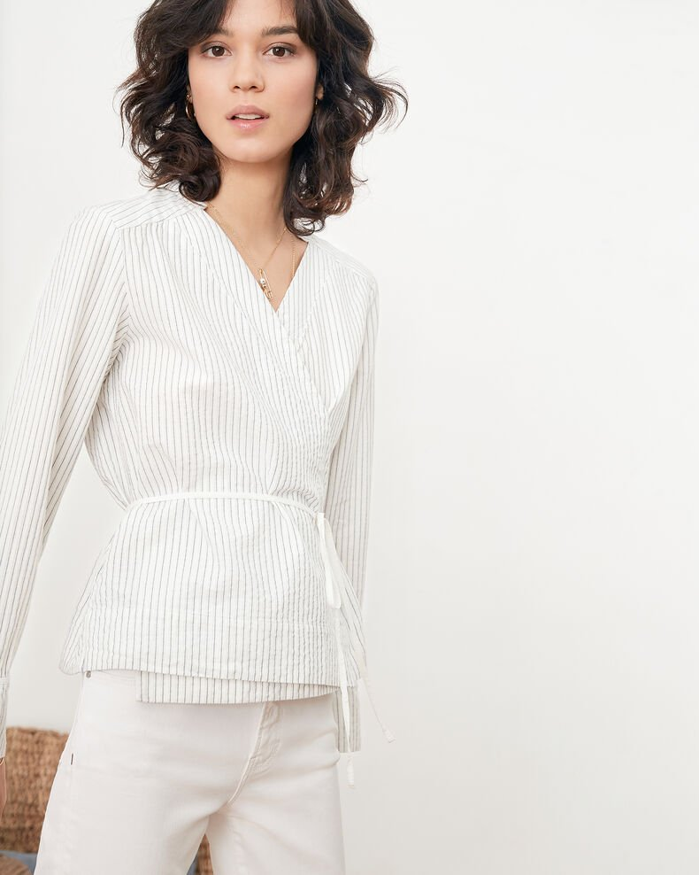Wrapover blouse OFF WHITE/NAVY STRIPES