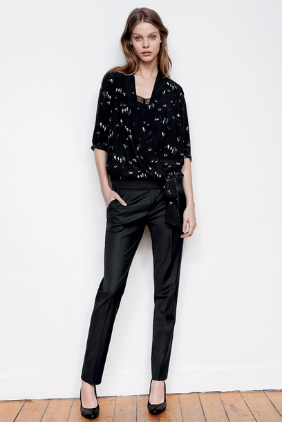 Woman look Wrapover blouse and tailored trousers