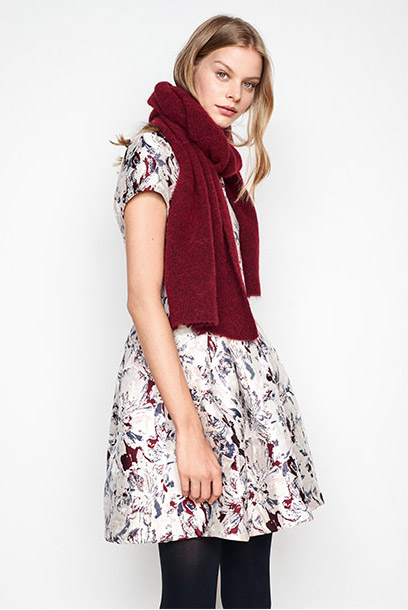 Women look - jacquard dress and wool and alpaca scarf