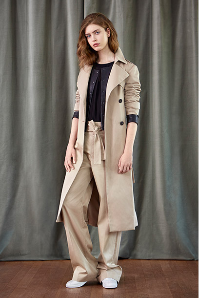 Look - Long line trench, leather jacket and wide leg pants