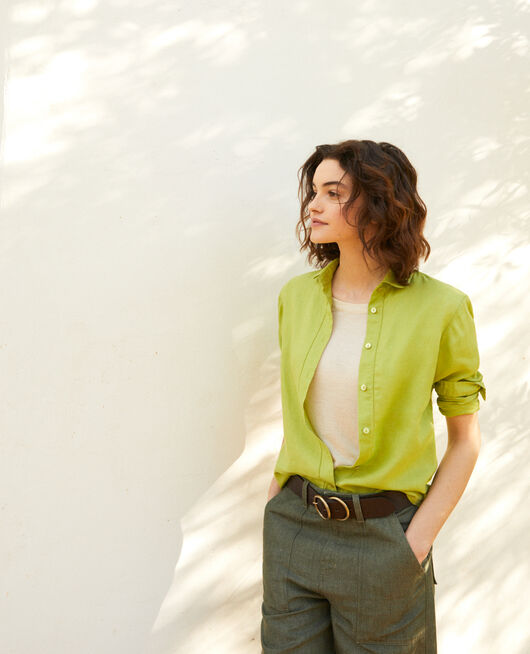 Linen shirt LIME GREEN