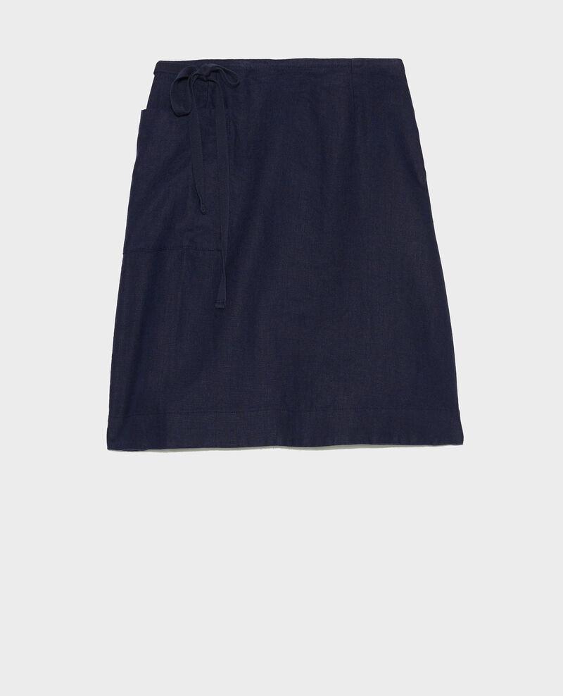 Linen wrap skirt Maritime blue Lartre