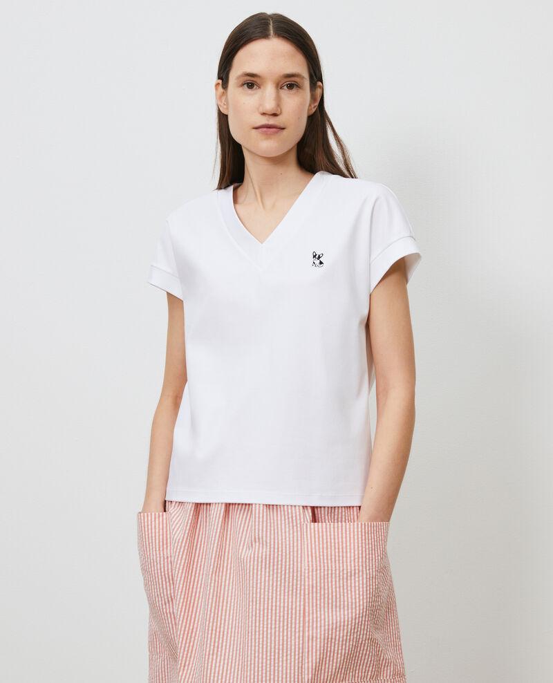 Organic cotton V-neck t-shirt Optical white Nohant