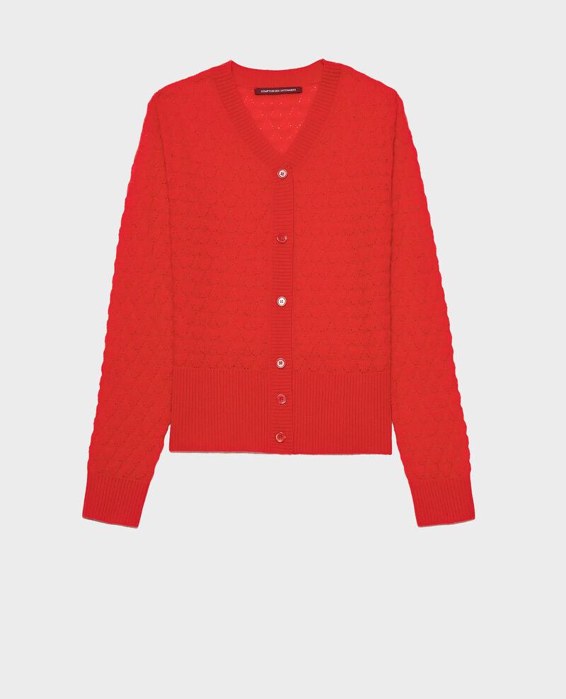 V-neck cardigan, 100% cashmere  Fiery red Licate