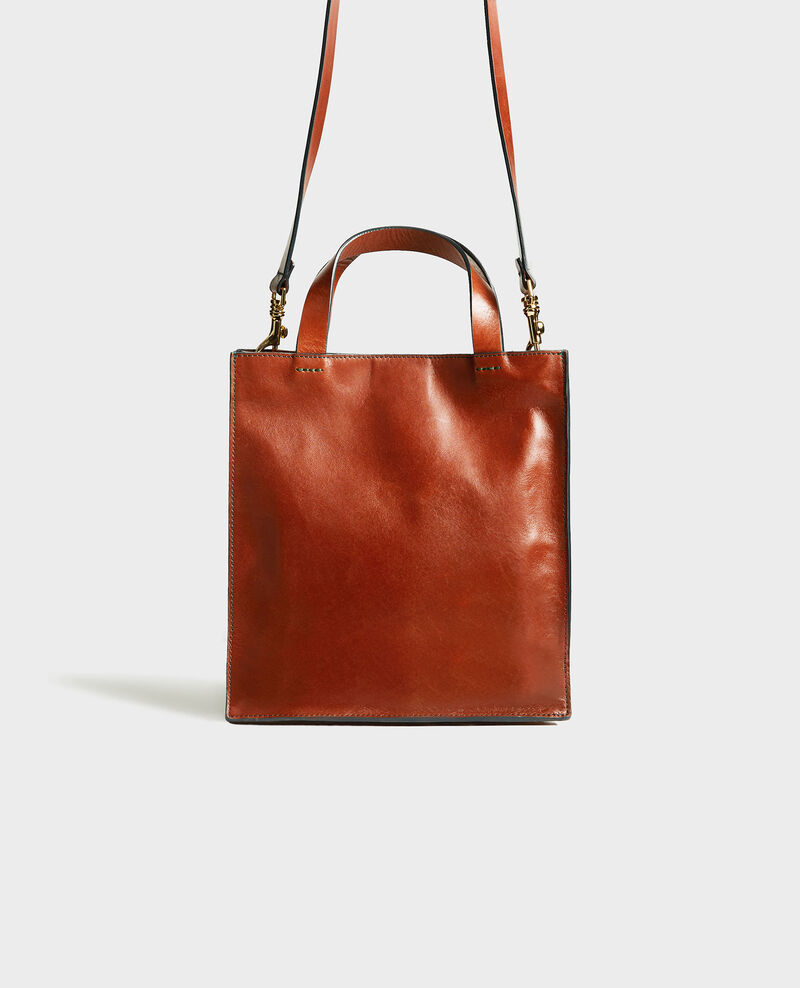 Mini multi-pockets leather tote Brandy brown Mudique xs