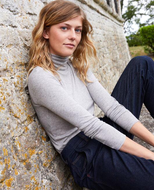 Rollneck cashmere-blend t-shirt MIDDLE GREY MELANGE