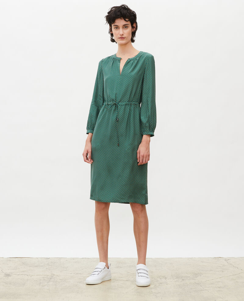 Loose silk dress Little pois dark green Megrisa