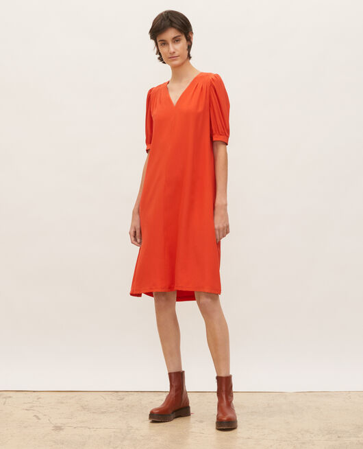 Floaty v-neck silk maxi dress VALIANT POPPY