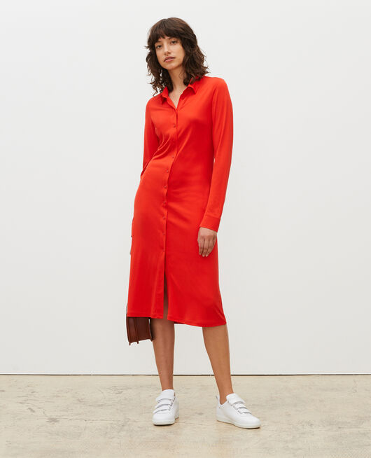 Silk jersey shirt dress FIERY RED