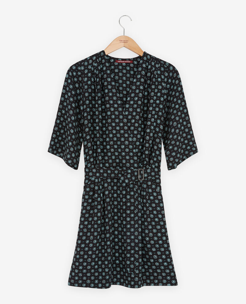 Printed dress with buckle Dandelion black Faustine