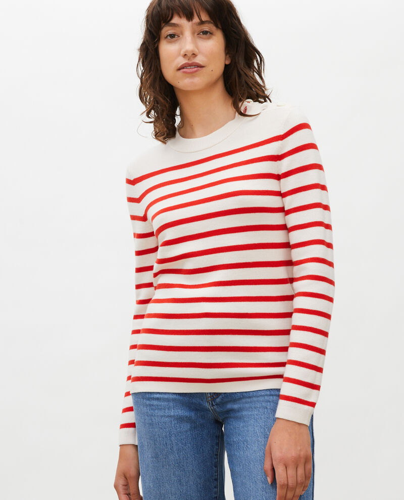 MADDY - Striped wool jumper Stripes fiery red gardenia Liselle