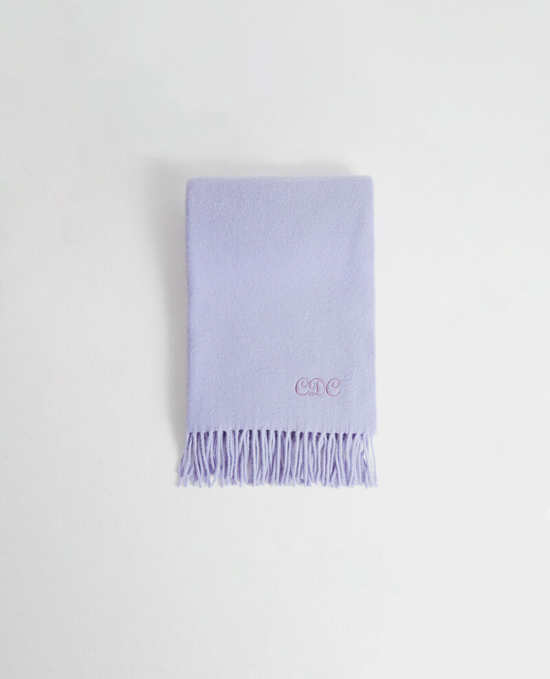 Long wool scarf with fringes Pastel lilac Mautes