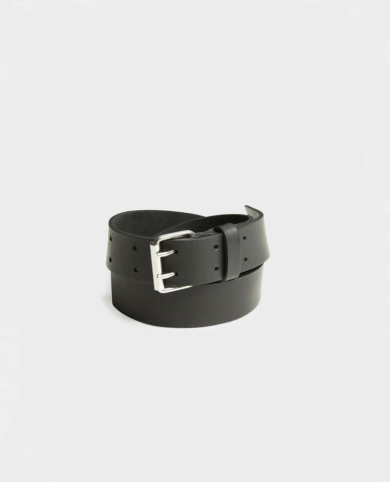 Leather belt with rectangular buckle Black beauty Megrit