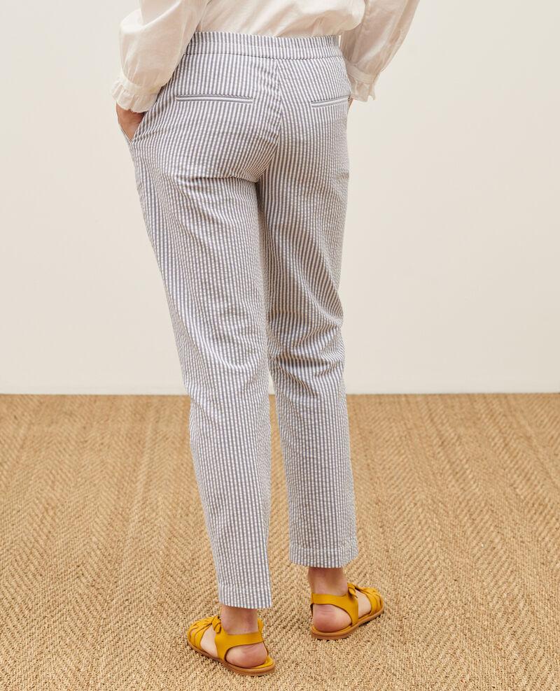 MARGUERITE trousers, cotton 7/8 cigarette pants Str navy Nyokeasy