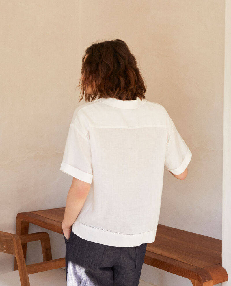Open collar linen shirt Off white Ilage