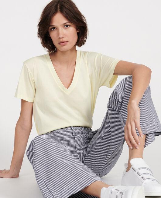V-neck cotton t-shirt TENDER YELLOW