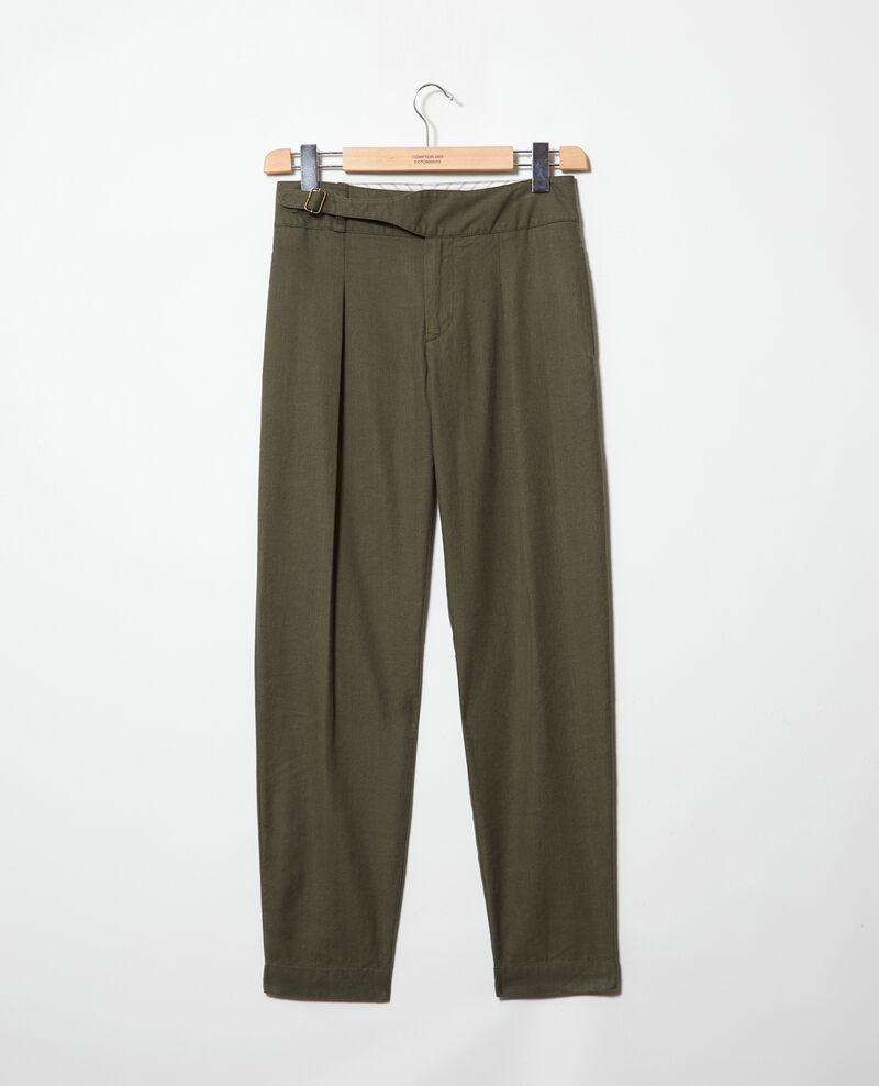 Linen blend trousers Military green Inouri